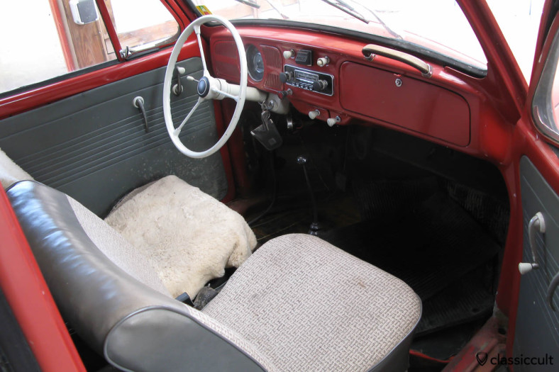 1965 VW Beetle 1200A inside, original and unrestored