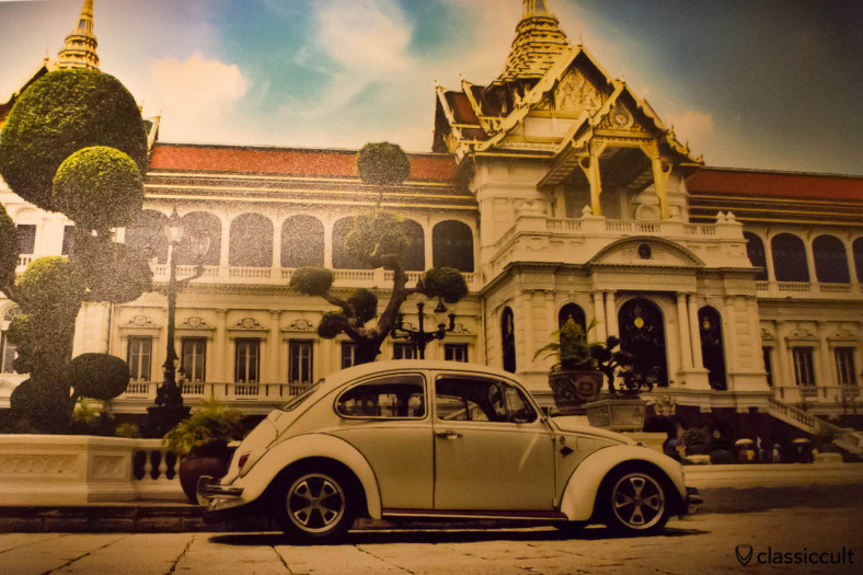 I got this cool postcard from owner F when I met him in Bangkok 2013-12-14. That's his white VW 1500 Beetle and in the background a temple in Bangkok.
