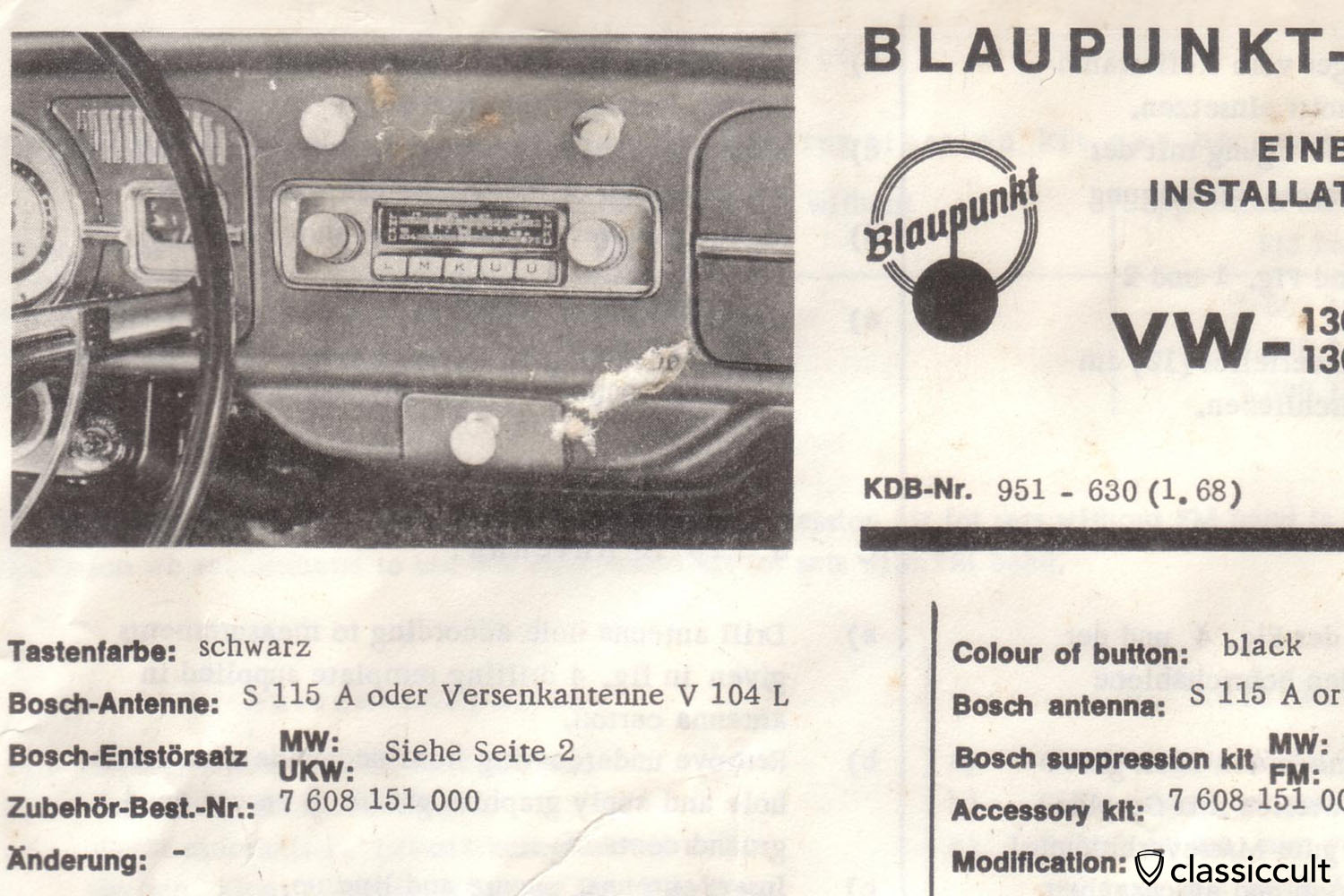 Blaupunkt Radio Installation Instruction VW Bug 1958-1967