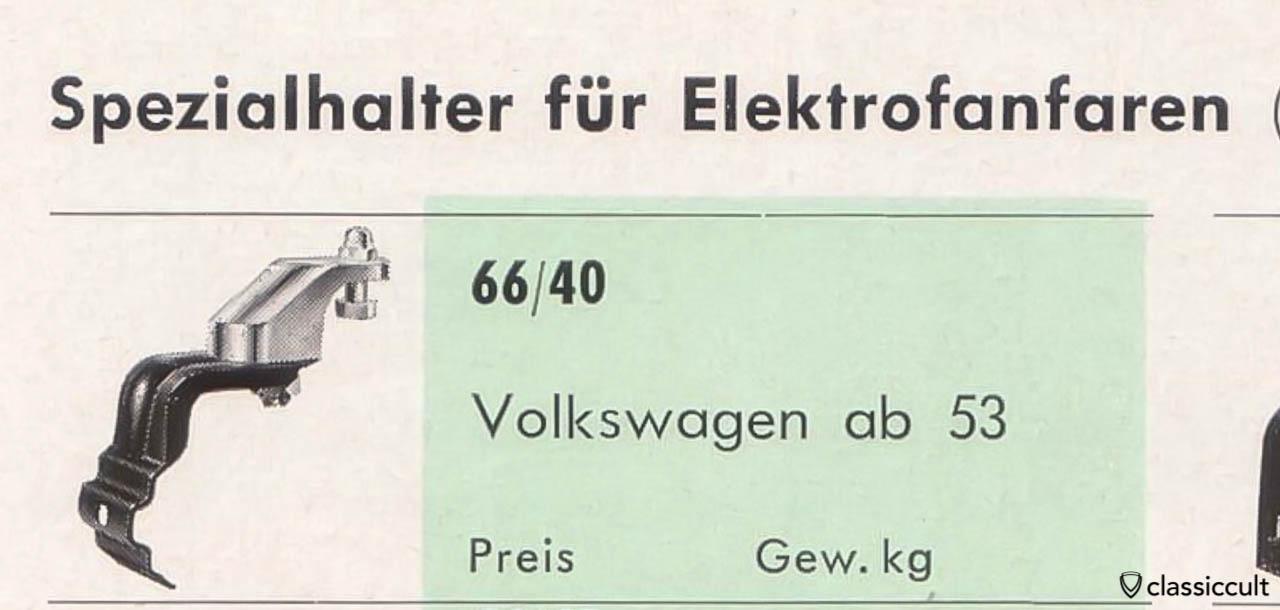 Hella fanfare horn brackets VW oval 1953-1957