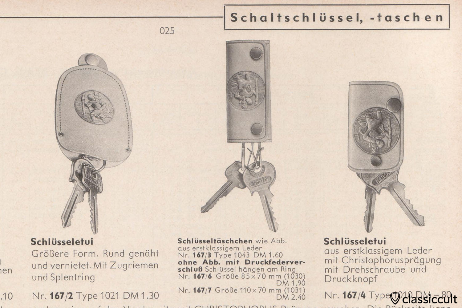 vintage Christophorus key fob for Porsche