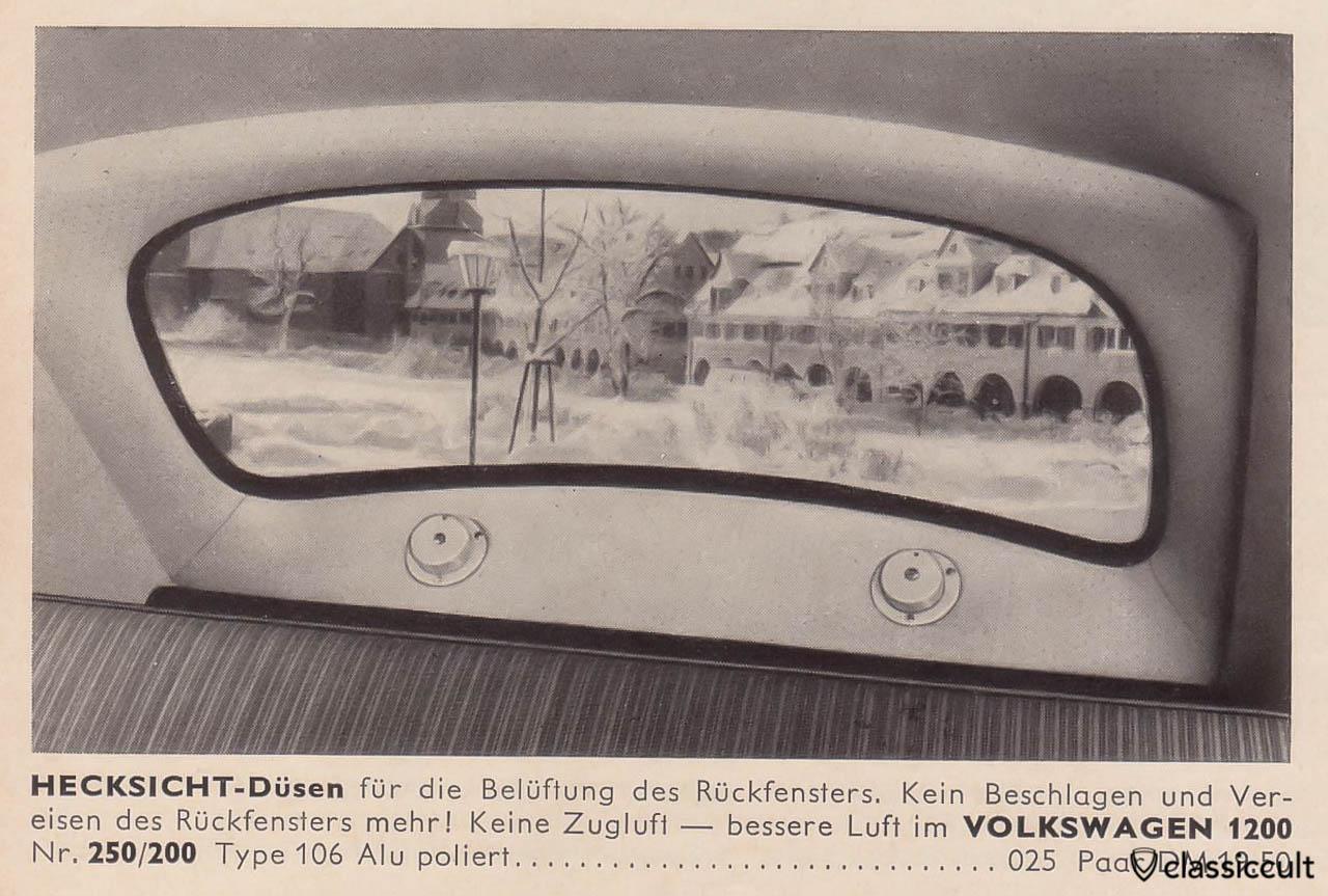 VW 1200 rear view nozzles fan