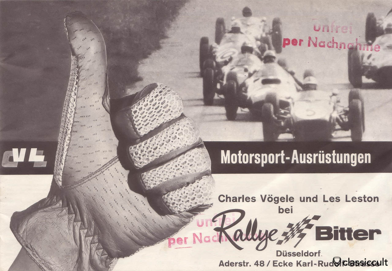 Vintage Motorsport Accessories Rallye Bitter Germany 1960 | classiccult