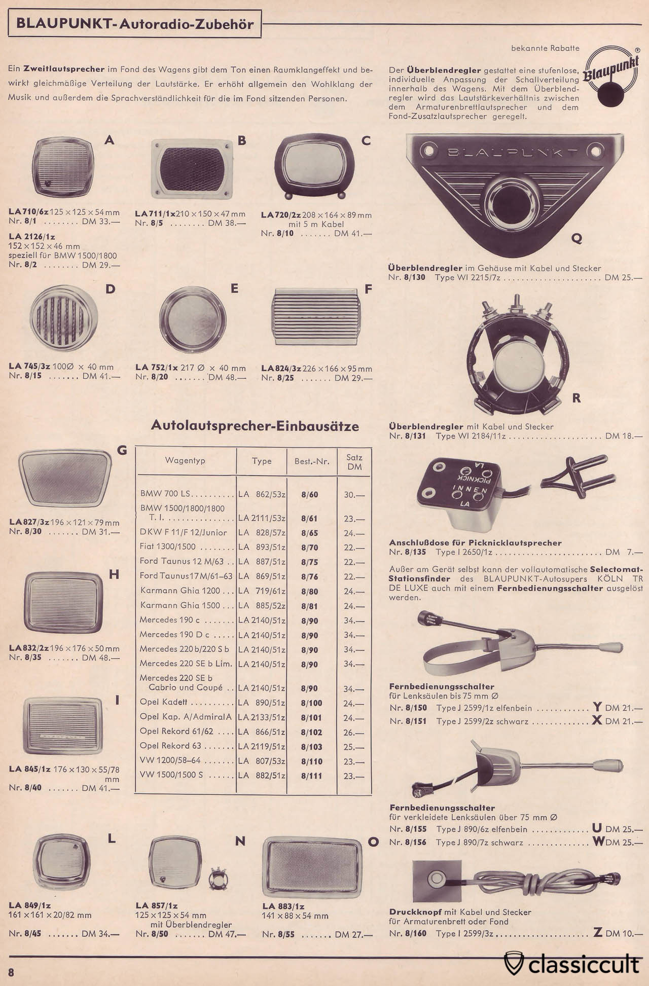 Blaupunkt Picnic Speaker Connector in Car Radio Accessories Catalog 1965
