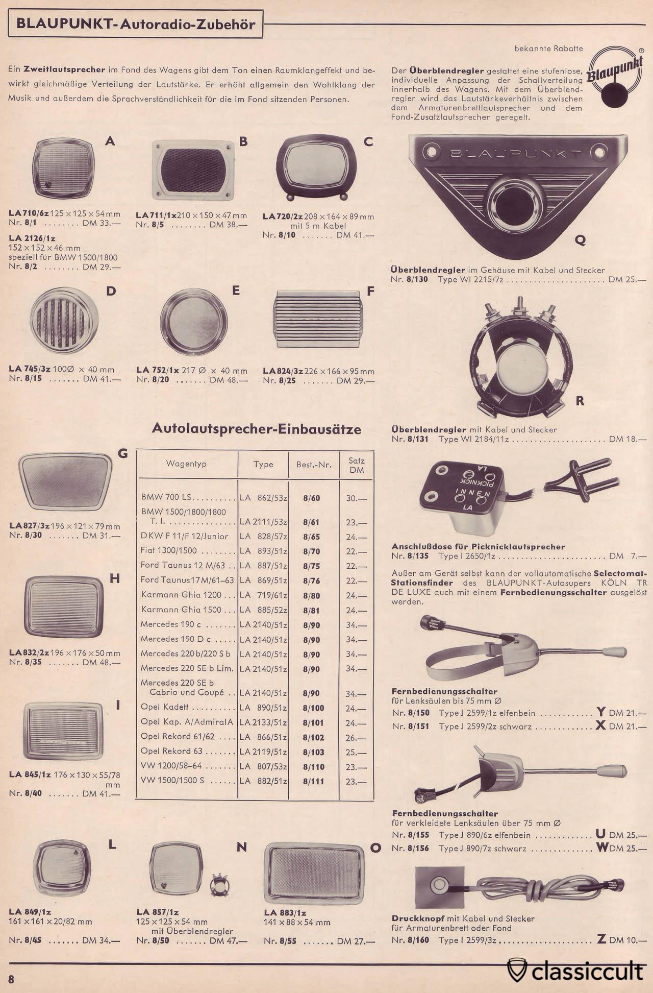 Blaupunkt Picnic Speaker Connector in Car Radio Accessories Catalog 1965