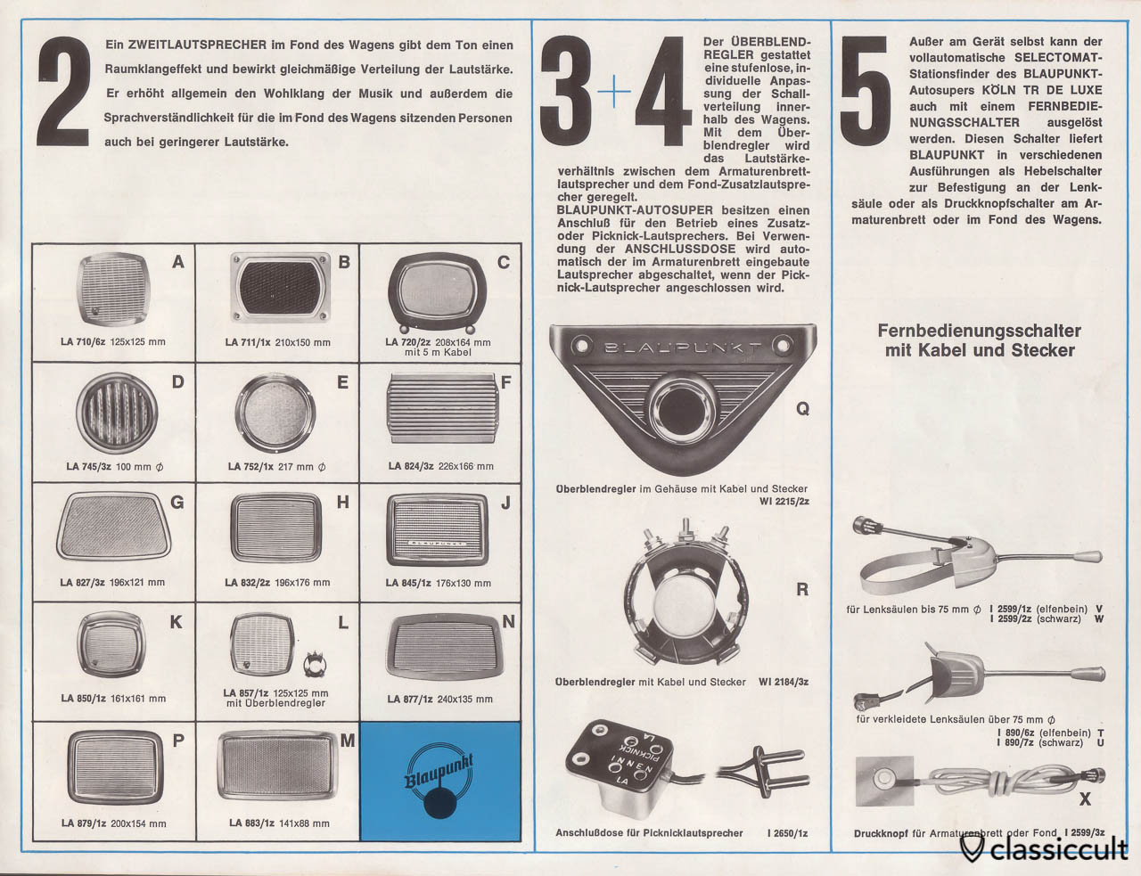 Blaupunkt picnic speaker connector in Blaupunkt car radio brochure 1963.