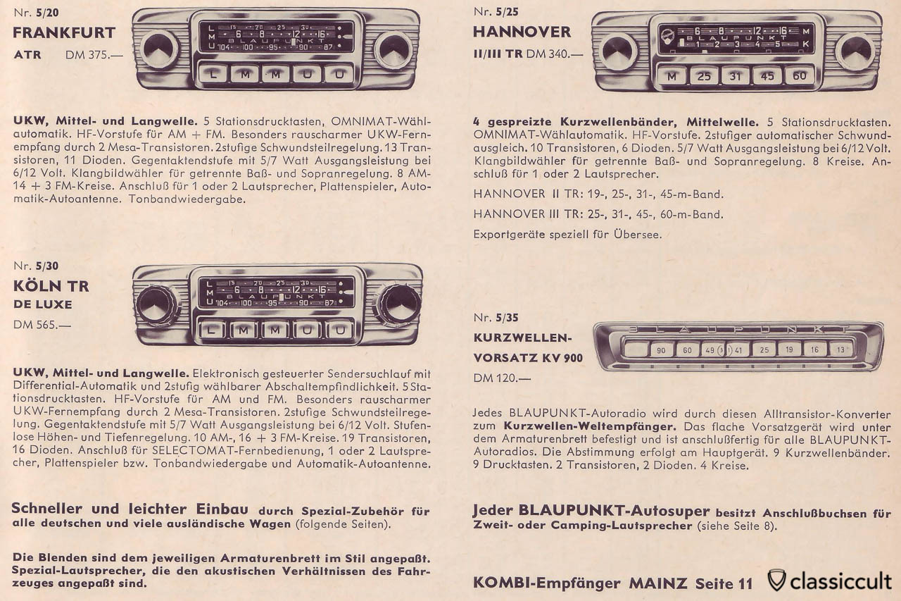 Blaupunkt Short Wave Adapter VW Porsche Radio