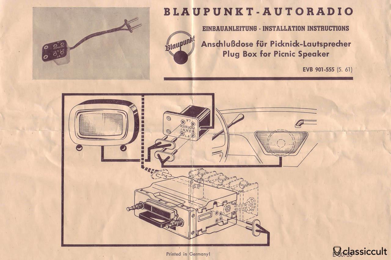 Vintage Blaupunkt Picnic Speaker Radio Connector
