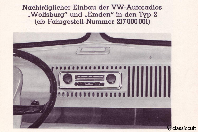 VW T1 Bus Blaupunkt Wolfsburg Emden Radio Installation