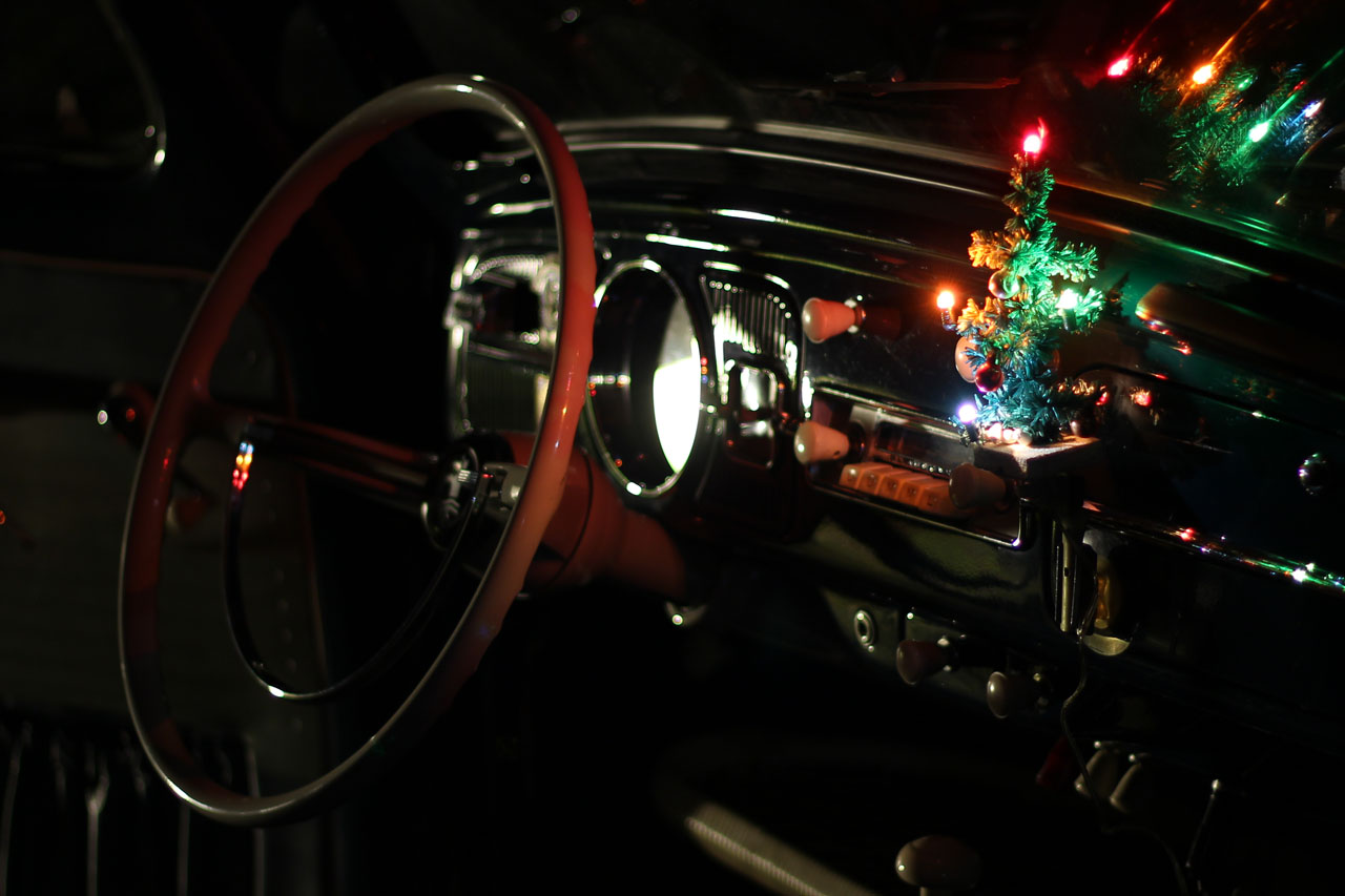 vintage 6V christmas tree in my 1959 VW Beetle