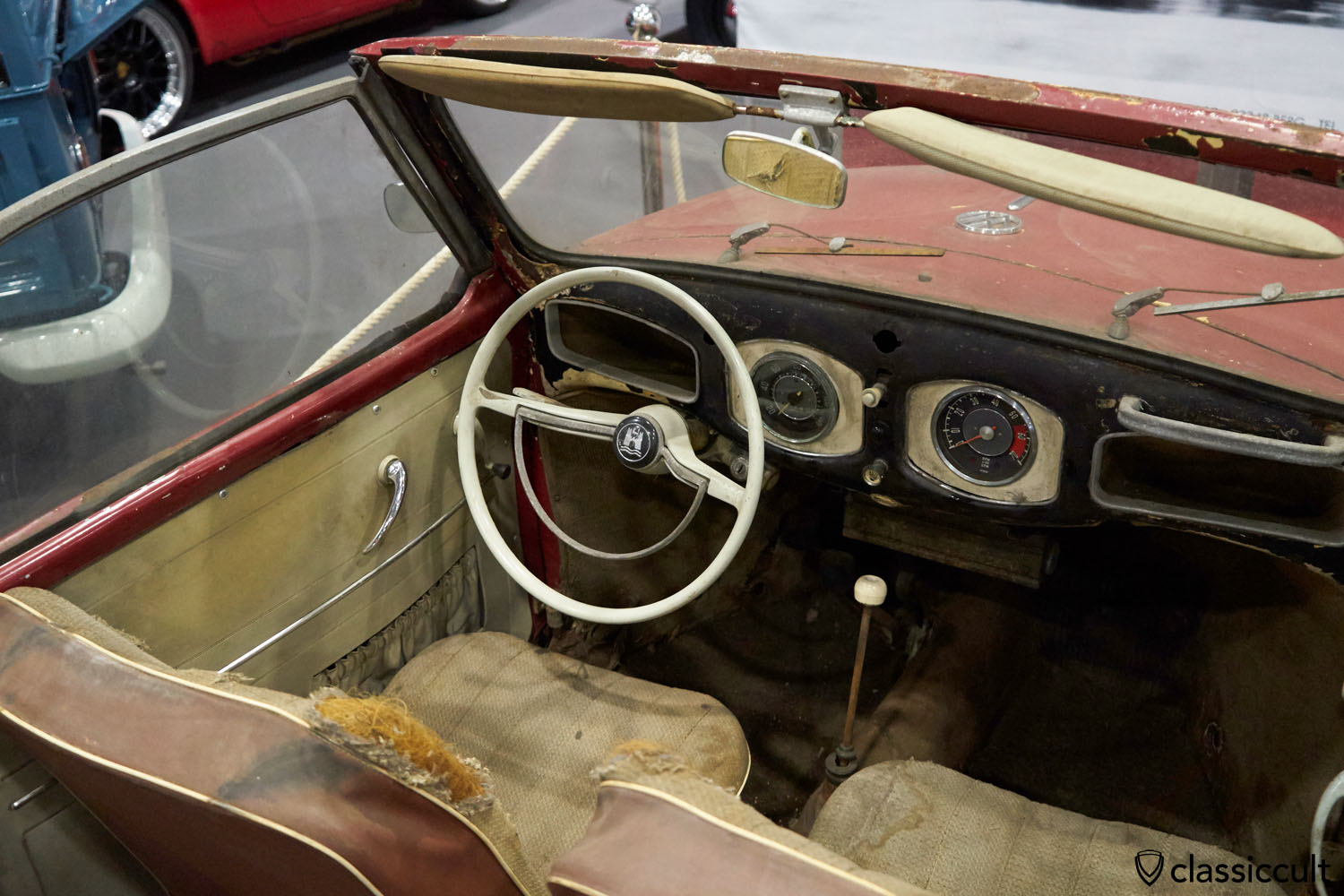 1949 VW Hebmüller dash view, unrestored and rusty