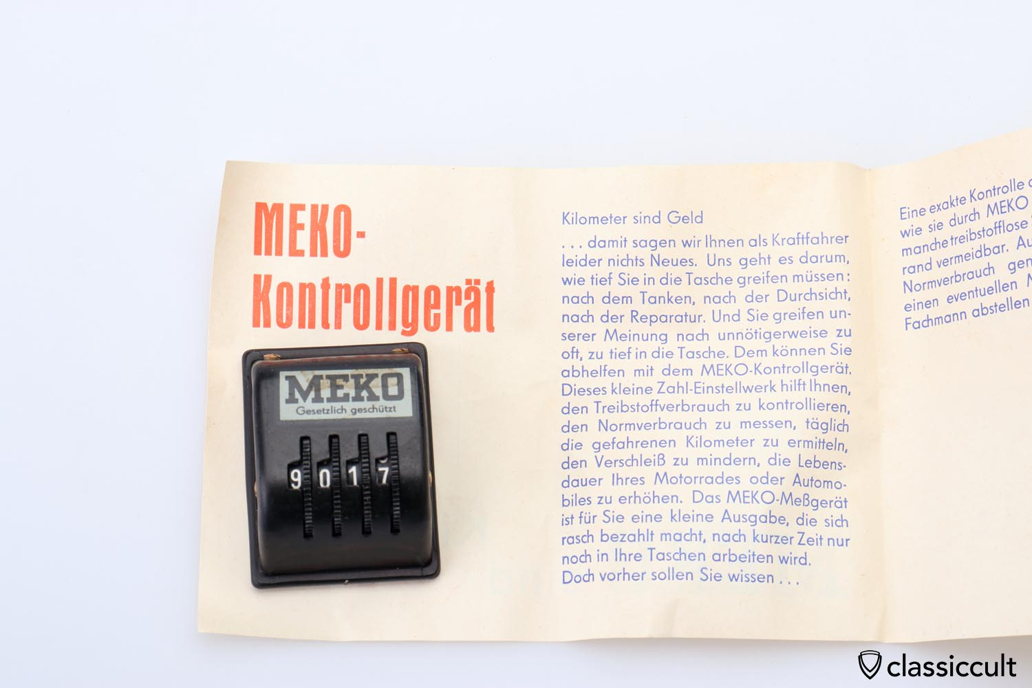MEKO miles recorder with instruction