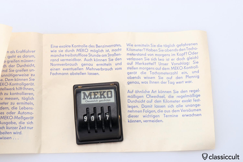MEKO kilometer recorder with instruction