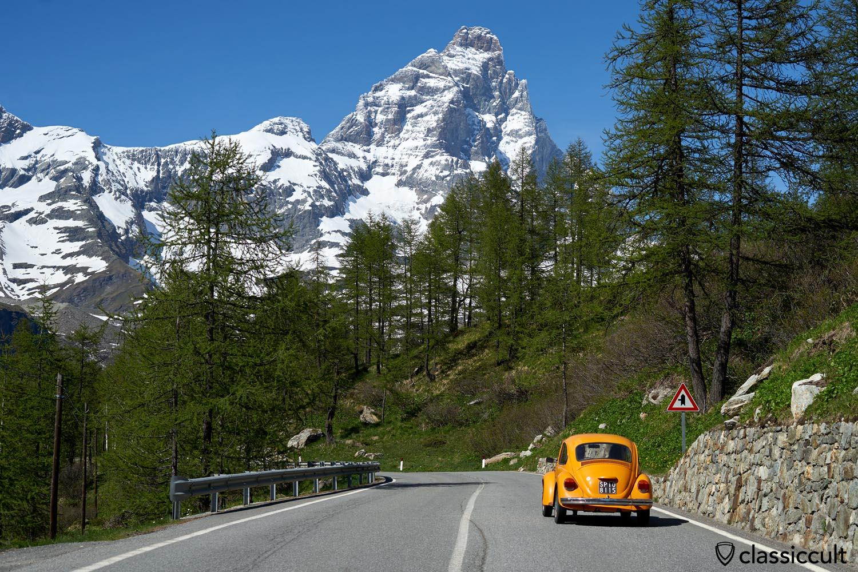 VW Beetle cruising to Matterhorn Mountain