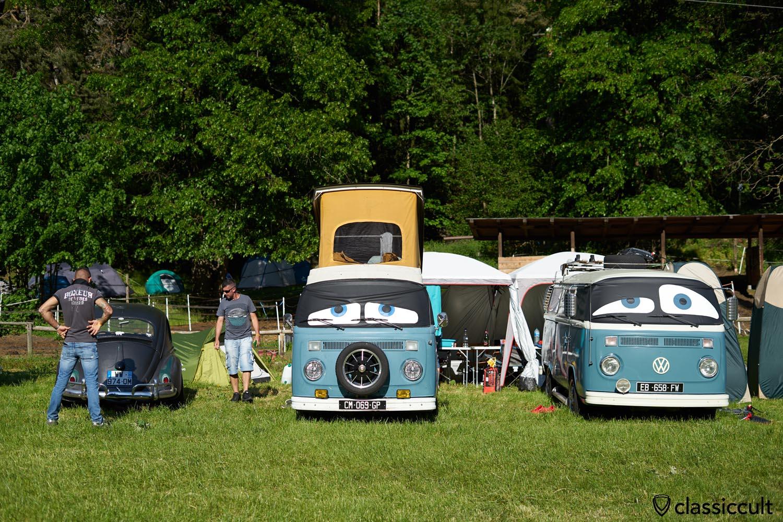 blue VW T2b Camper
