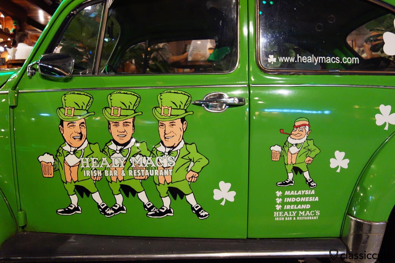 Healy Macs Irish Bar Kuala Lumpur, advertising on classic VW Beetle