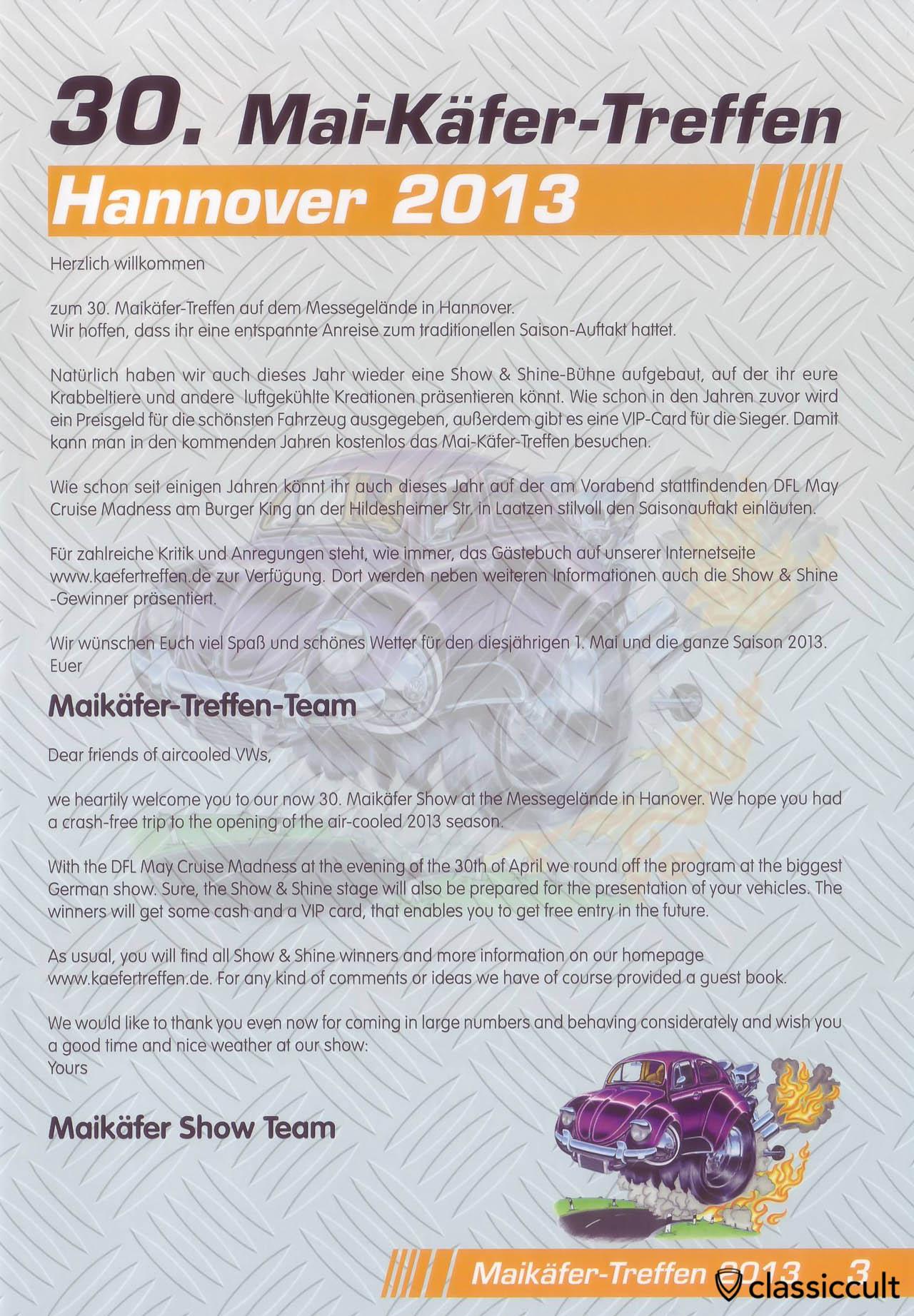 Willkommen Anschreiben aus Maikäfertreffen 2013 Broschüre