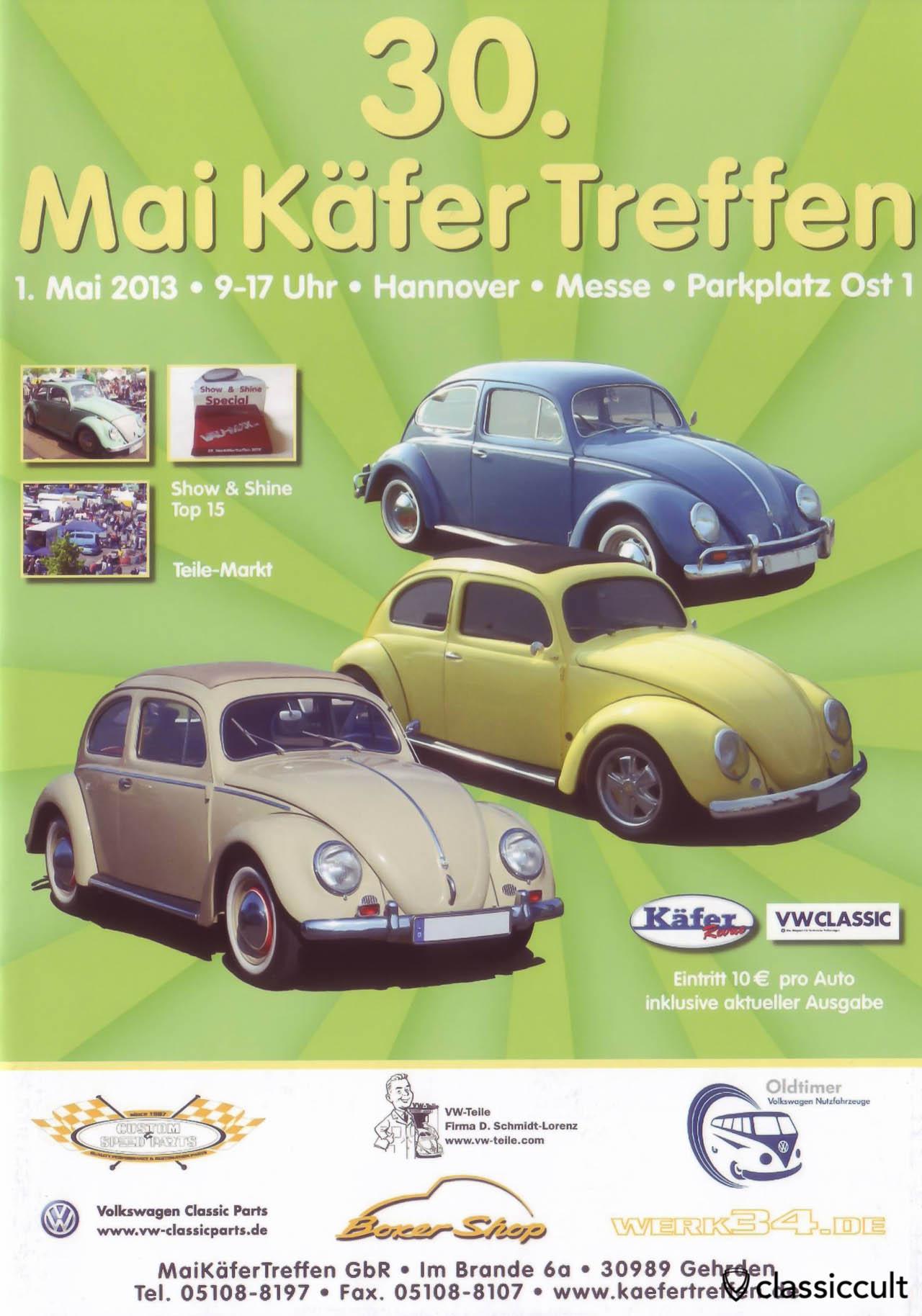 30. Maikäfertreffen 2013 in Hannover Flyer