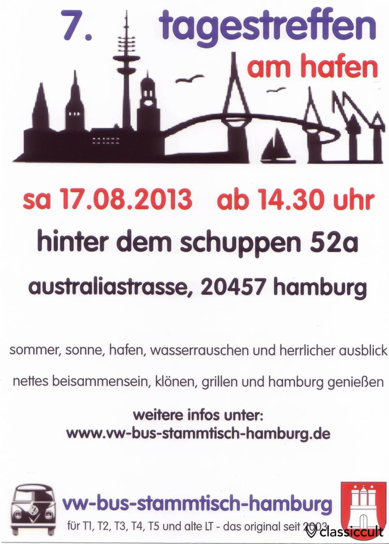 7. Tagestreffen am Hafen Hamburg 17.08.2013 Flyer, VW Bus Stammtisch Hamburg