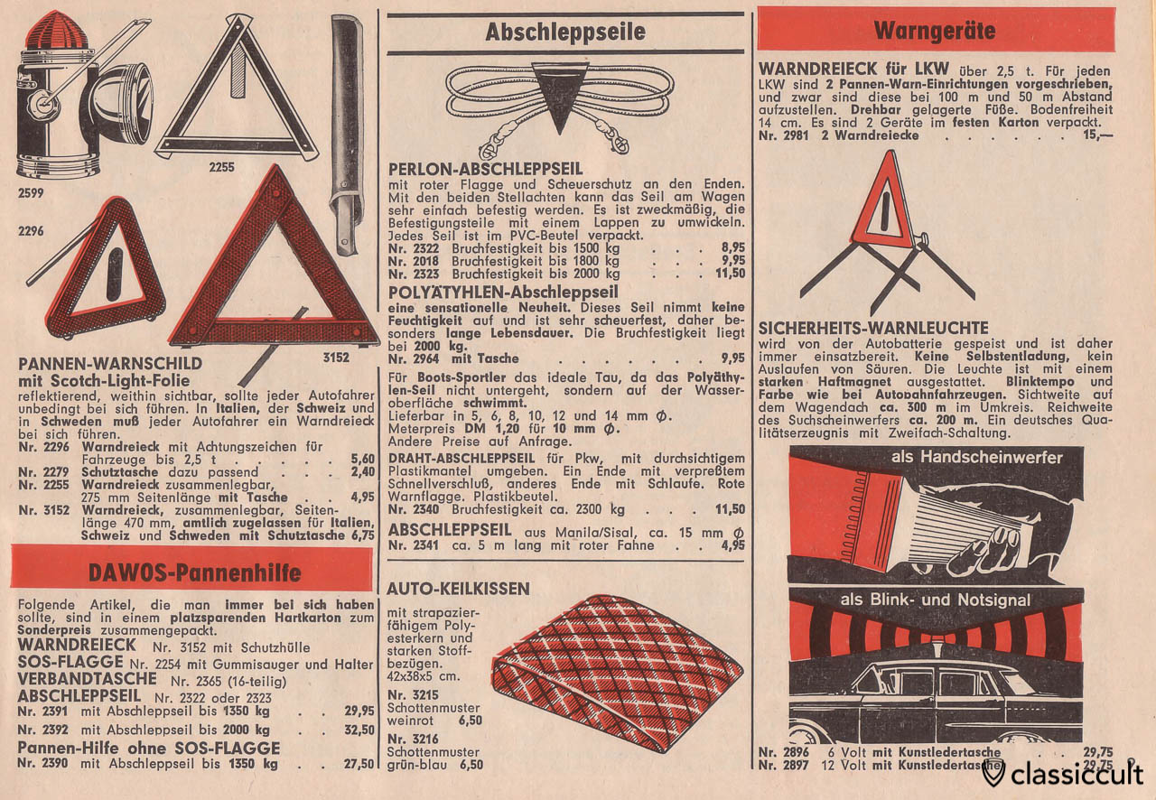 warning triangle, Perlon tow rope, Page 9