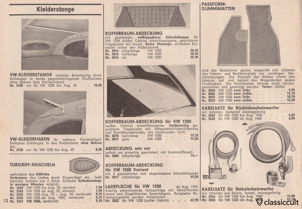 VW Oval clothes rail and coat hook, luggage compartment cover, Page 12