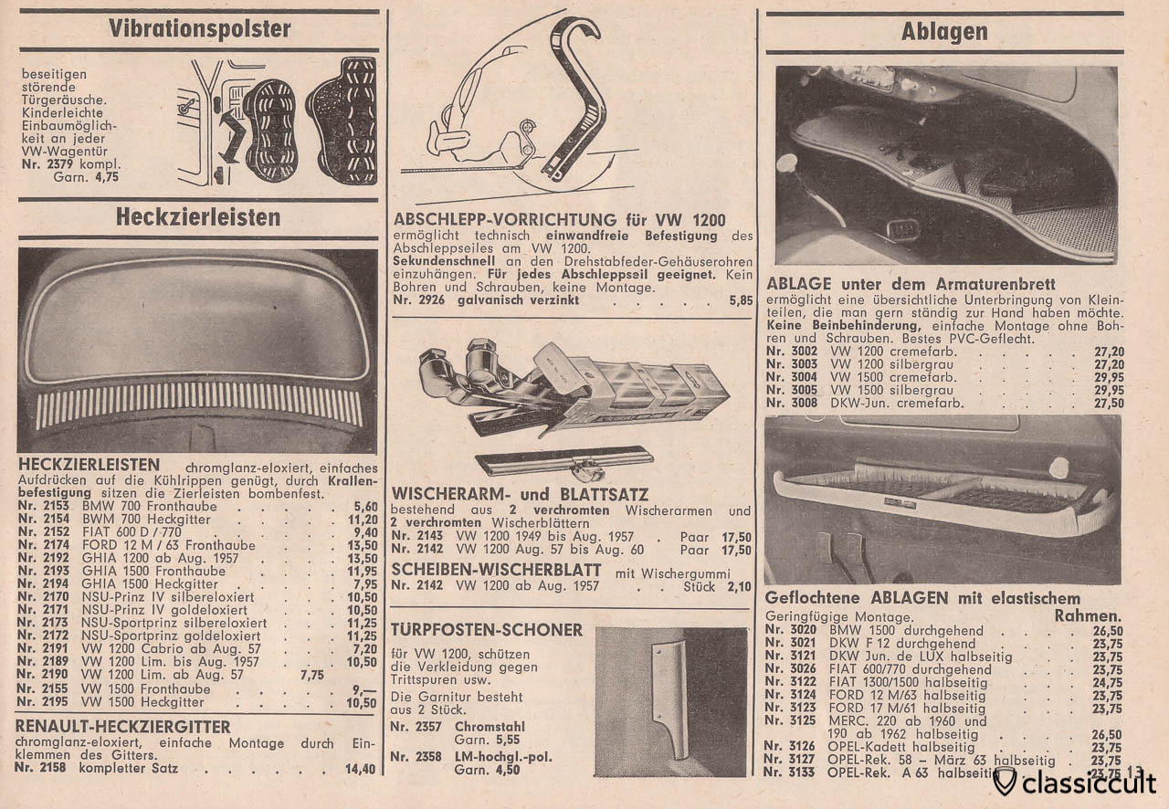 VW 1200 tow hook device,  plastic underdash shelf, parcel tray, Page 13