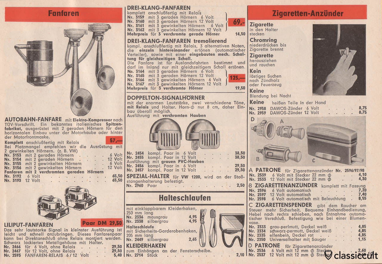 Autobahn Fanfare horn, cigarette lighter, SERVI cigarette dispenser, Page 19
