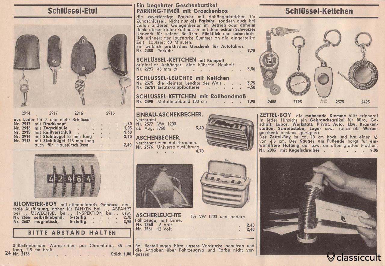 leather key fob, Kilometer-Box, Dehne ashtray light for VW 1200 Beetle, Page 24