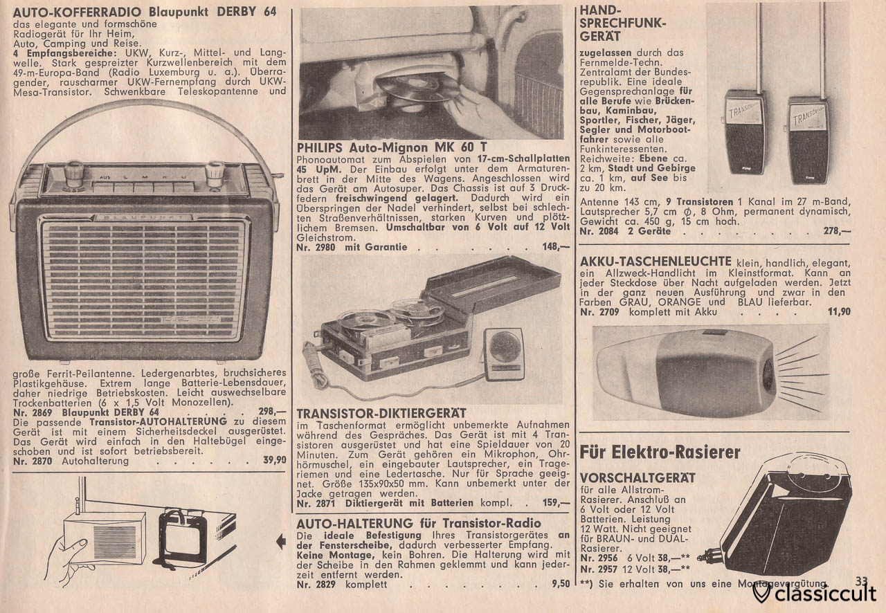 Blaupunkt Derby 64 Radio, Philips Auto-Mignon MK60T disc player, Page 33