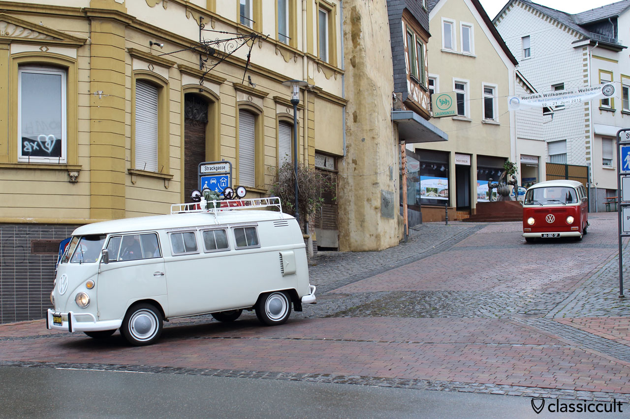 T1 and T2 Bus at , 8:53 a.m. in the old city of Bad Camberg. The T2 Bus owner is looking for parking. 10. Int. Bad Camberger VW Show 2015.