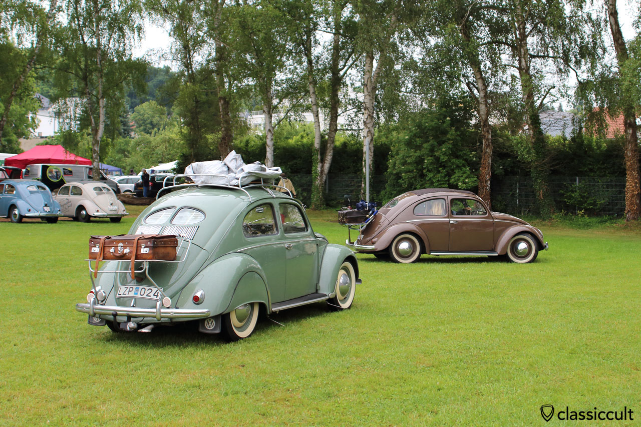 VW Split Beetles with rear luggage rack