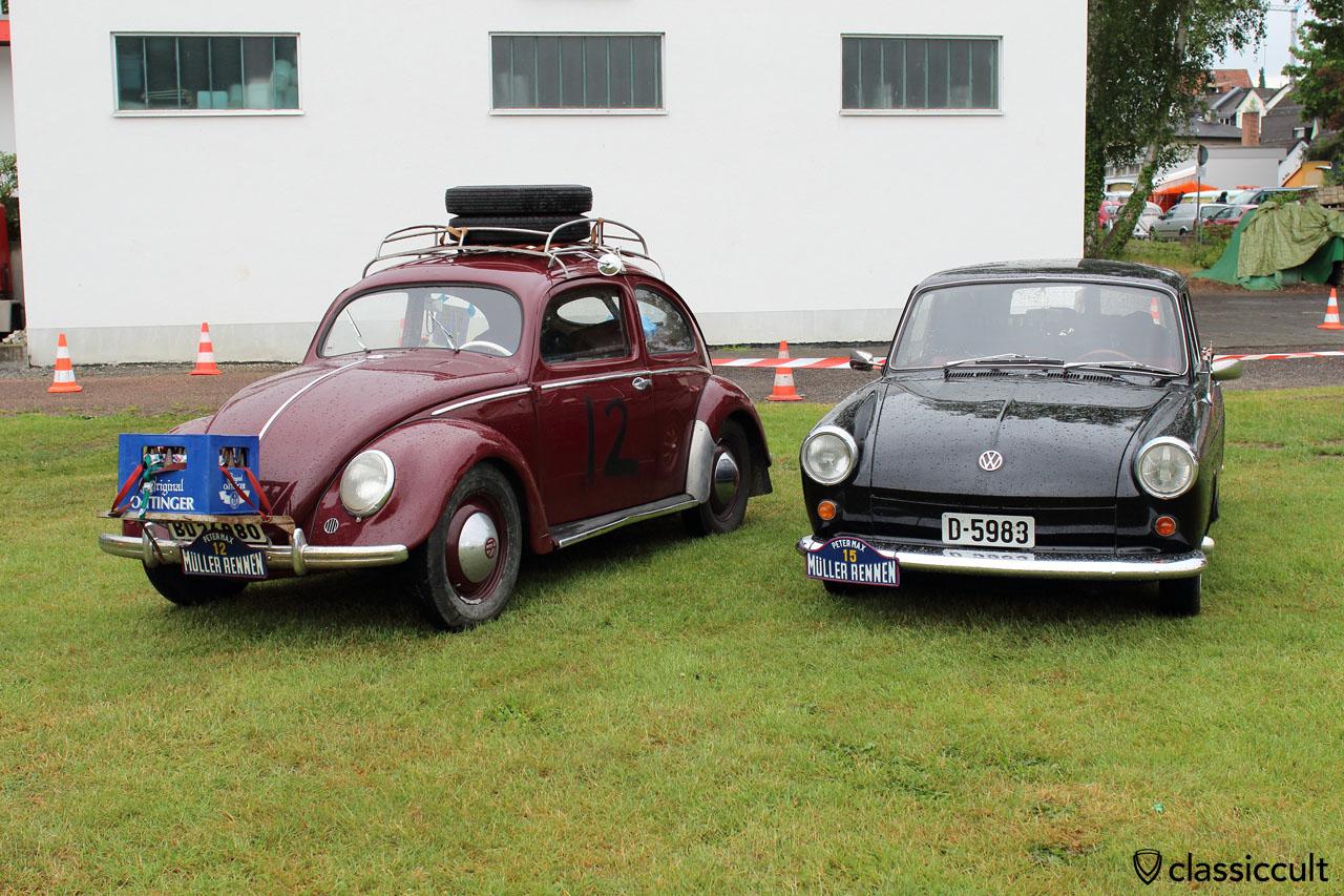VW Split Beetle with front luggage rack to transport German beer