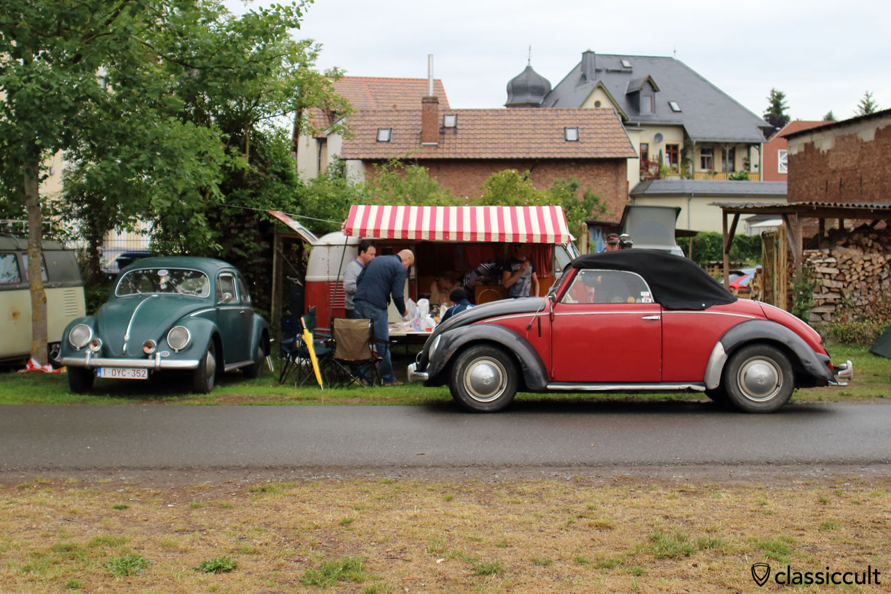 VW Hebmüller after hunting for breakfast at Bakery Schönberger, now parking near Bad Camberg VW Show lawn and owner having breakfast with friends at 9:20 a.m.