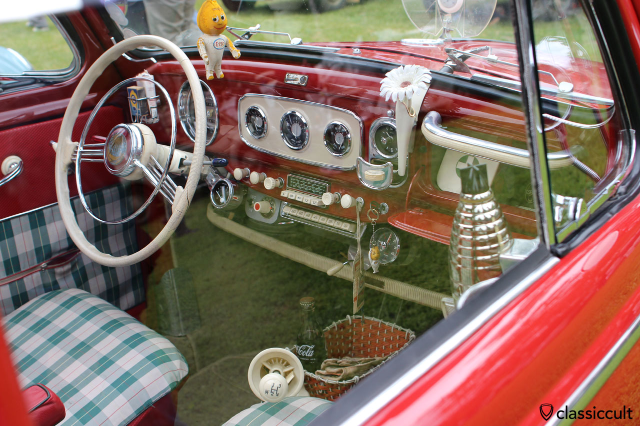 VW Oval Bug dashboard, overloaded with rare accessories