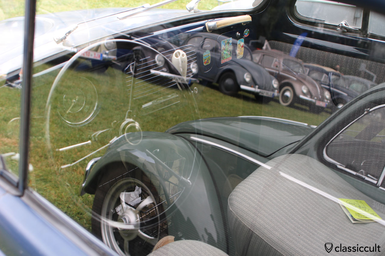 VW Standard Oval dashboard with superb reflections of Bad Camberg VW Show 2015