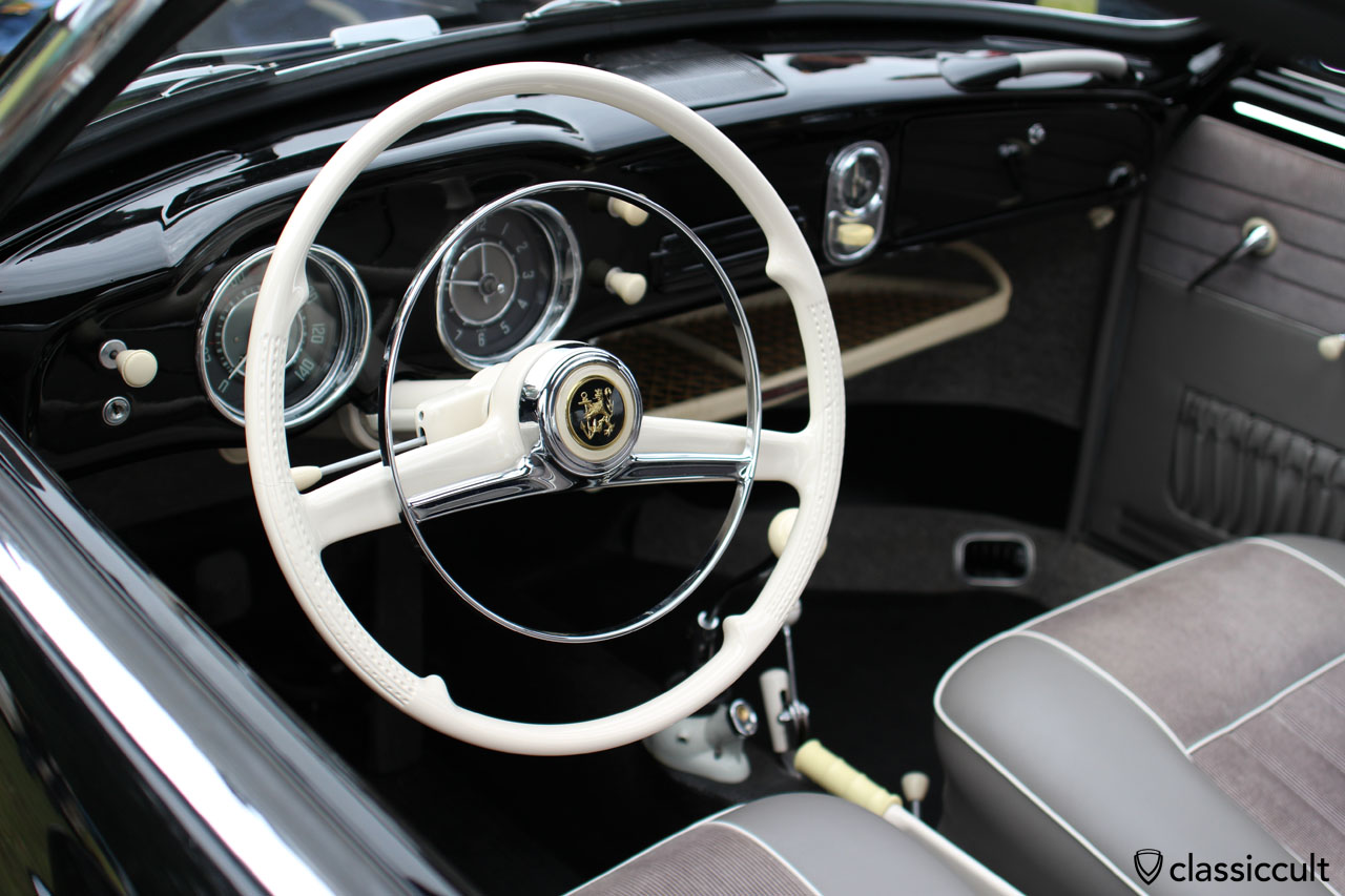 1956 Karmann Ghia, dashboard view with DKW steering horn button