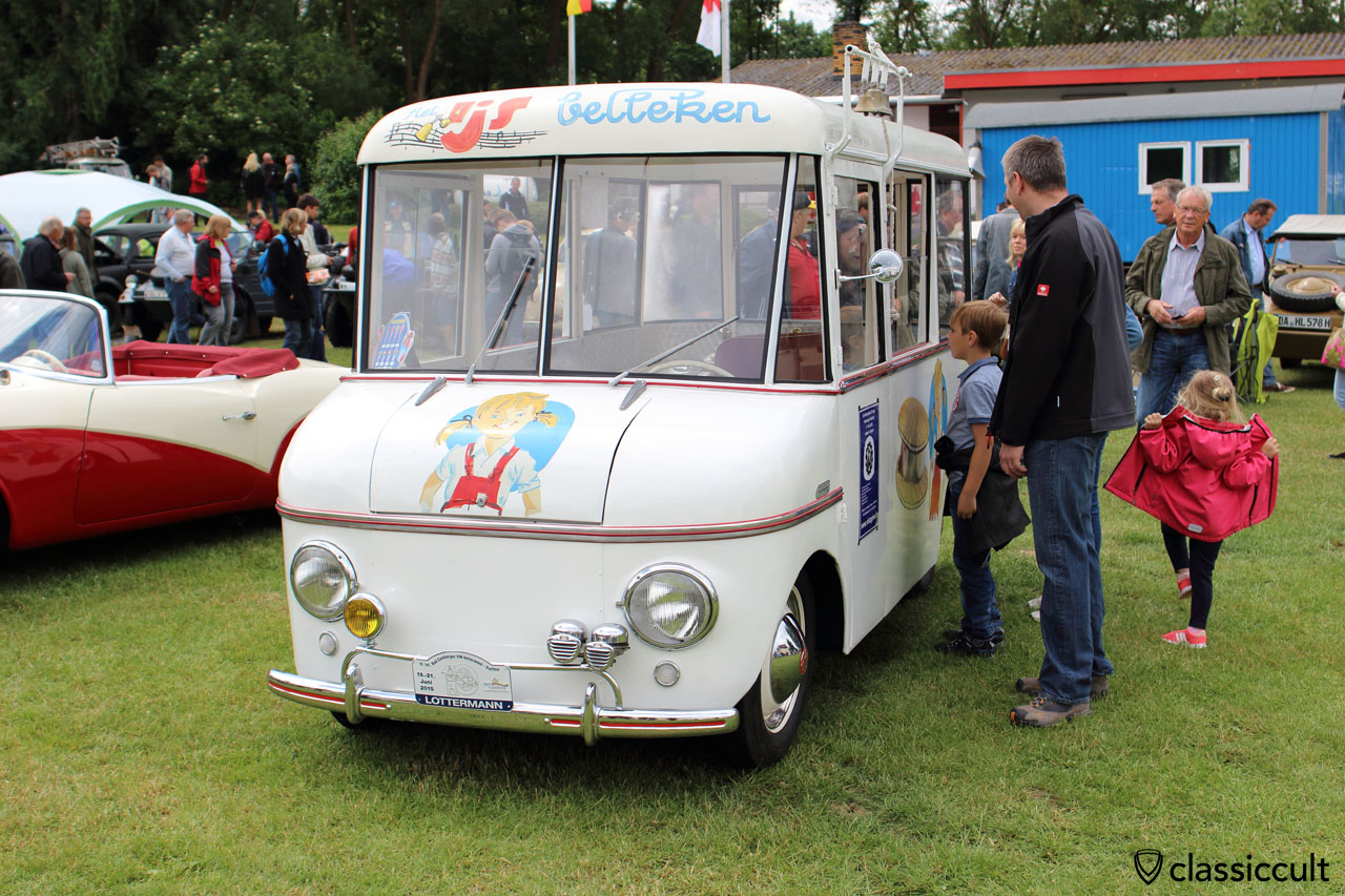 superb coachbuilt VW ice cream truck, with Hella fanfare horns and yellow Hella fog light