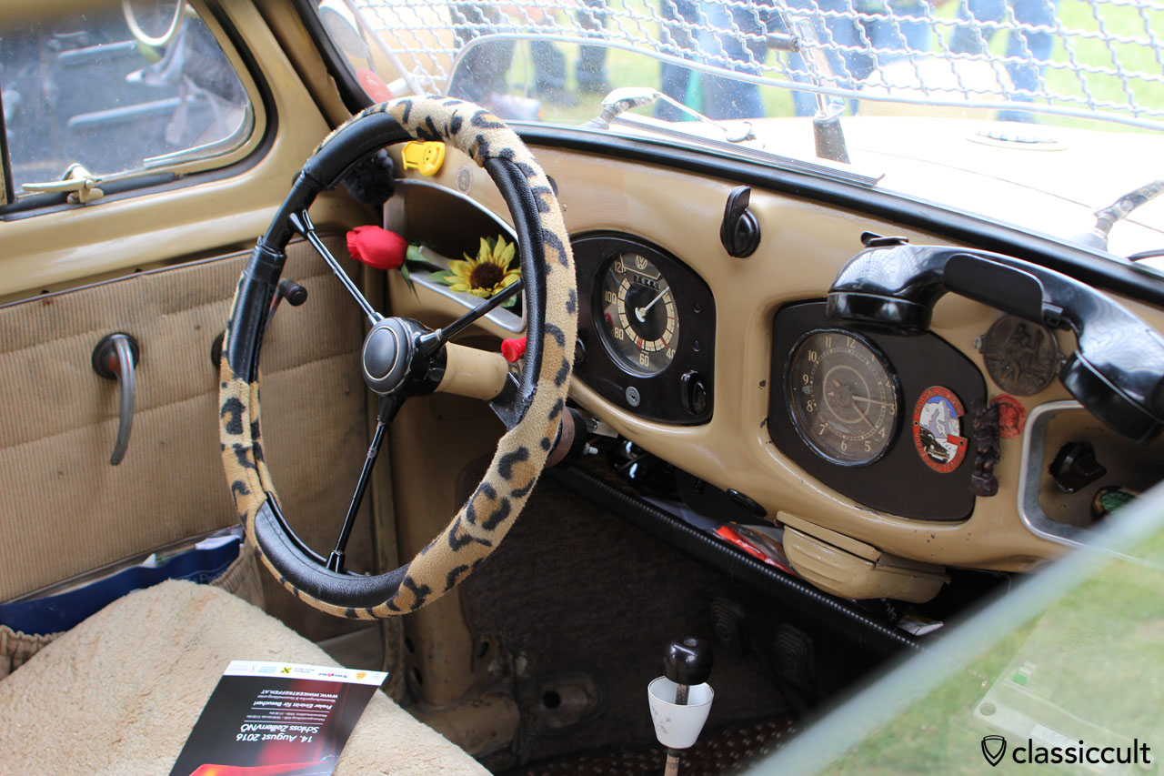 Africa Expedition VW Split Beetle, dashboard with telephone
