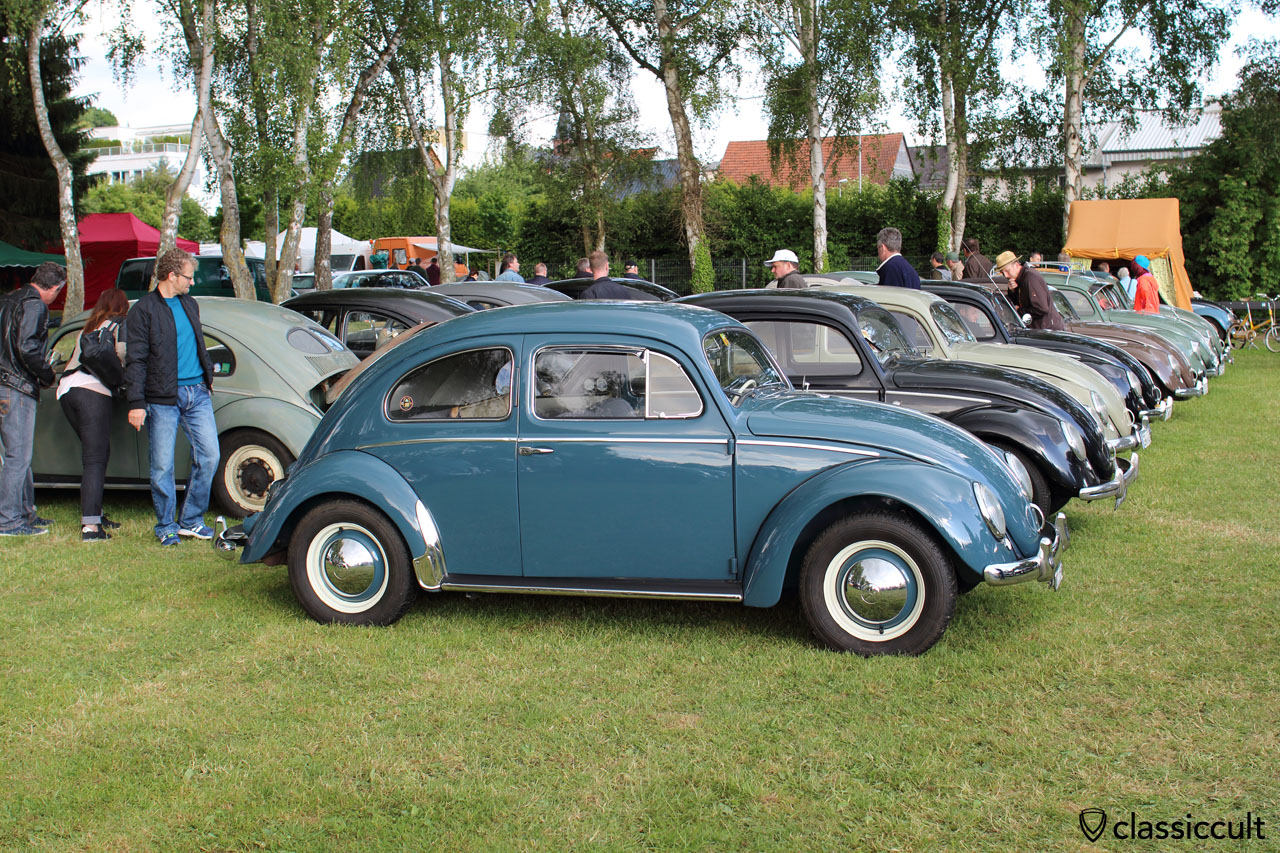 VW Split with Vredestein classic (or similar), if you change to Camac tires your nice Beetle will look much better and lower, as original…