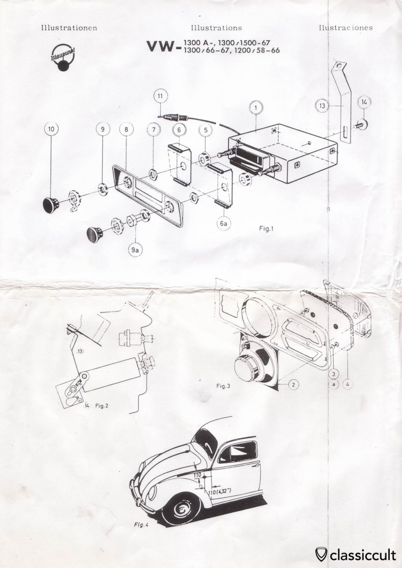 Blaupunkt Autoradio Installation Instruction VW Bug 1958-1967