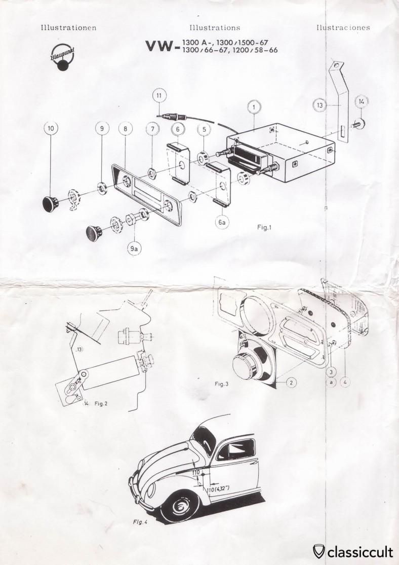 blaupunkt radio installation instruction vw bug 1958