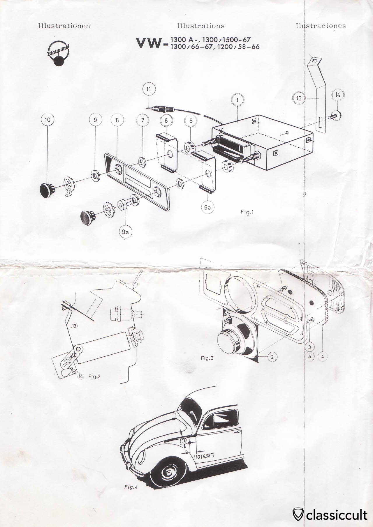 blaupunkt radio installation instruction vw bug 1958