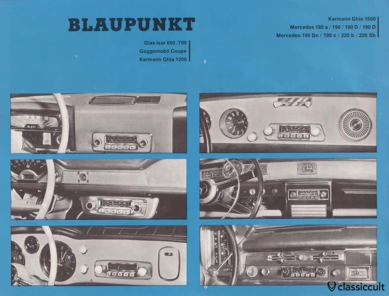 Blaupunkt Radio in VW Karmann Ghia 1200 and 1500