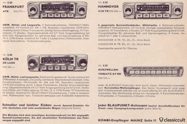 Blaupunkt Short Wave Adapter KV900 (Kurzwellen Vorsatz KV 900) in german car accessories catalog 1965.