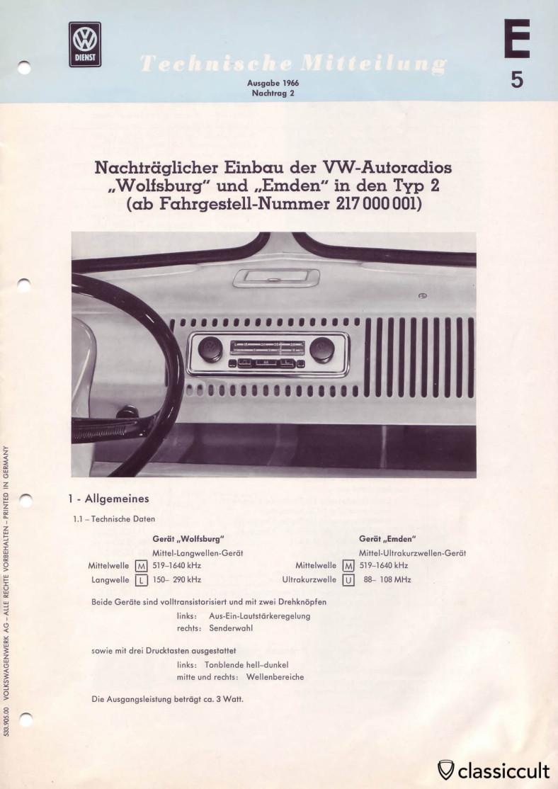 VW T1 Bus Blaupunkt Wolfsburg Emden Radio Installation 1966.