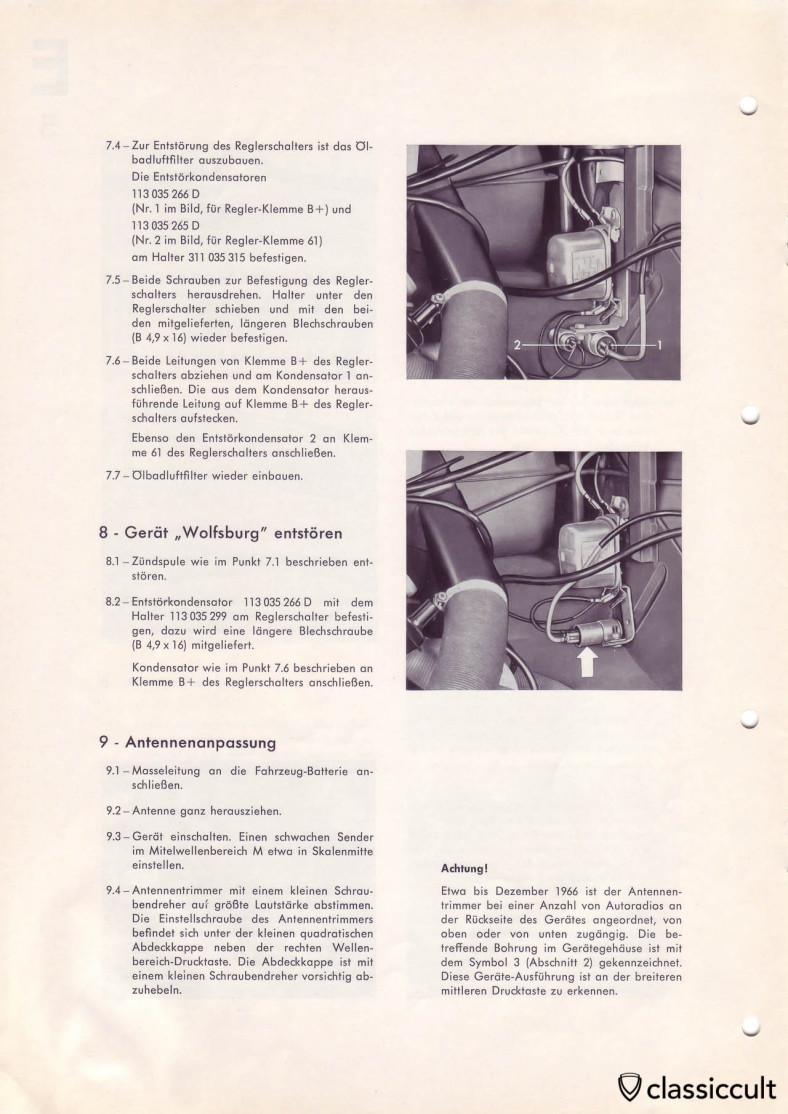 VW T1 Bus Blaupunkt radio noise suppression.