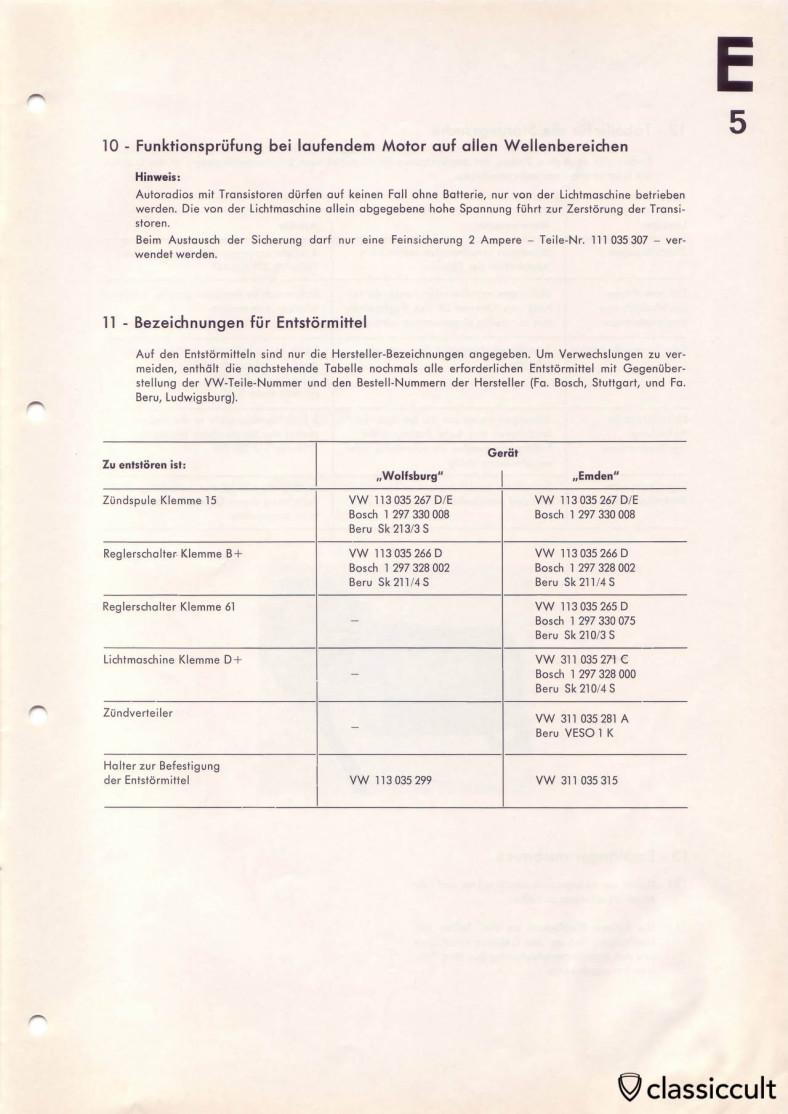 VW Split Bus Blaupunkt radio noise suppression installation instruction.
