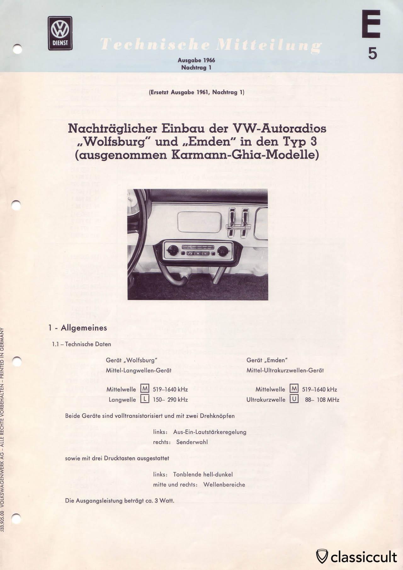 VW Type 3 Blaupunkt Wolfsburg Emden Radio Installation 1966.