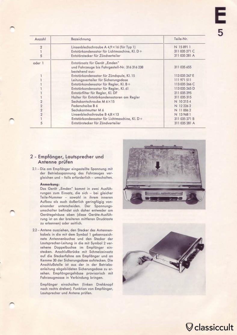 Part list to mount a Blaupunkt radio in VW Type 3.