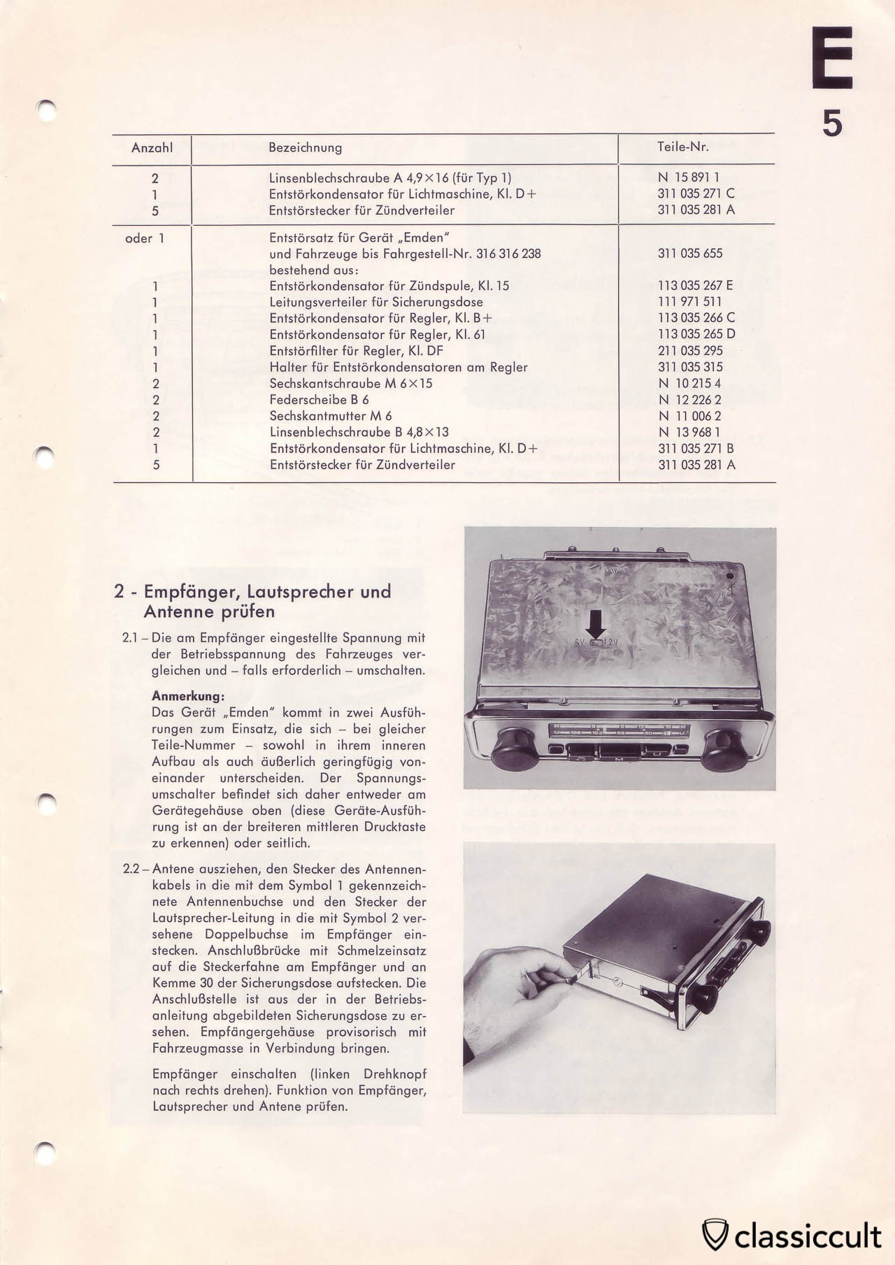 Part list to mount a Blaupunkt radio in VW Type 3.